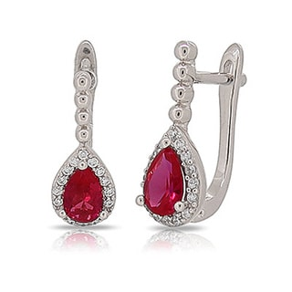 Kabella Sterling Silver with Red and White Cubic Zirconia Earrings