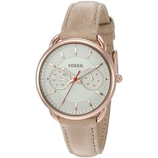 Fossil Women's ES4007 'Tailor' Multi-Function Brown Leather Watch
