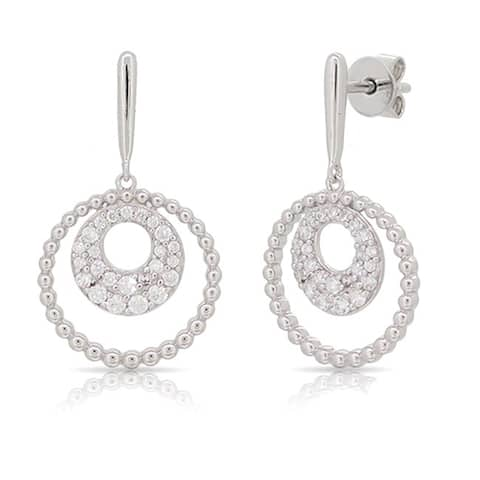 Kabella Sterling Silver Cubic Zirconia Round Dangling Earrings