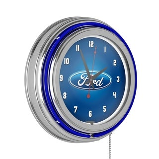 Ford Chrome Double Rung Neon Clock - Ford Oval