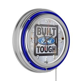 Ford Chrome Double Rung Neon Clock - Built Ford Tough