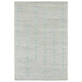 Handmade Collins Silver & Turquoise Nomad Rug (4' x 6')