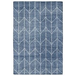 Handmade Collins Denim Blue & Ivory Nomad Rug (2' x 3')