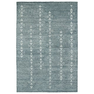 Handmade Collins Ice Blue & Light Blue Nomad Rug (8'0 x 11'0) - 8' x 11'