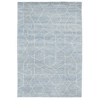 Handmade Collins Light Blue & Slate Nomad Rug (2'0 x 3'0)