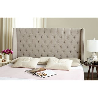 Link to Safavieh London Taupe Upholstered Tufted Wingback Headboard (Full) Similar Items in Bedroom Furniture