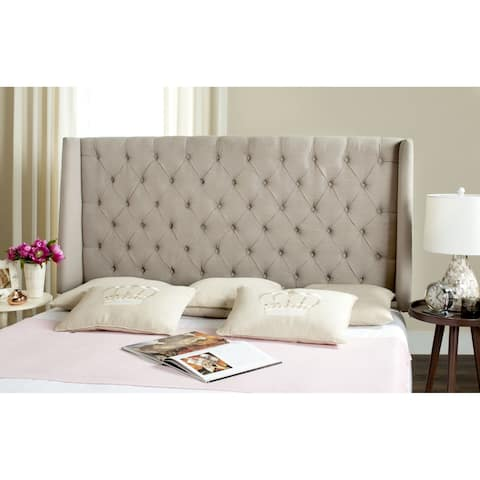 Safavieh London Taupe Upholstered Tufted Wingback Headboard (Queen)