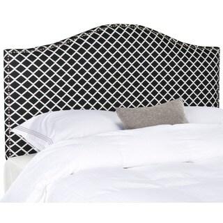 Safavieh Connie Black/ White Diamond Camelback Headboard - Silver Nailhead (Full)