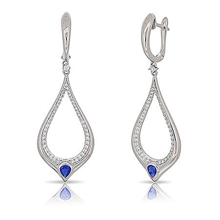 Kabella Sterling Silver Blue and White Teardrop Dangling Earrings