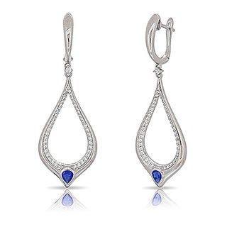 Kabella Sterling Silver Blue and White Teardrop Dangling Earrings