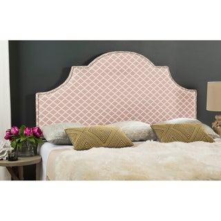 Safavieh Hallmar Peach Pink/ White Trellis Upholstered Arched Headboard - Silver Nailhead (Full)