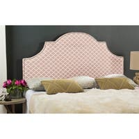 Safavieh Hallmar Peach Pink/ White Trellis Upholstered Arched Headboard - Silver Nailhead (Full)