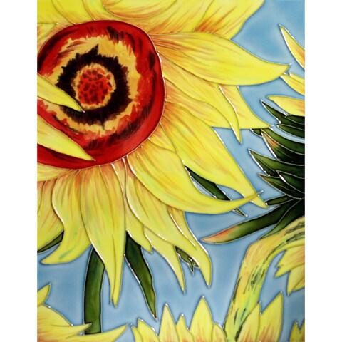 Vincent Van Gogh 'Sunflowers' (detail) Trivet/Wall Accent Tile (felt back)