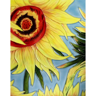 Vincent Van Gogh 'Sunflowers' (detail) Trivet/Wall Accent Tile (felt back)