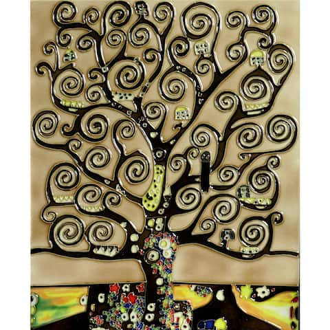 Gustav Klimt 'Tree of Life' Trivet/Wall Accent Tile (felt back)