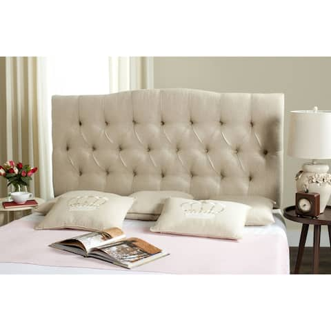 SAFAVIEH Axel Hemp Linen Upholstered Tufted Headboard (Queen)