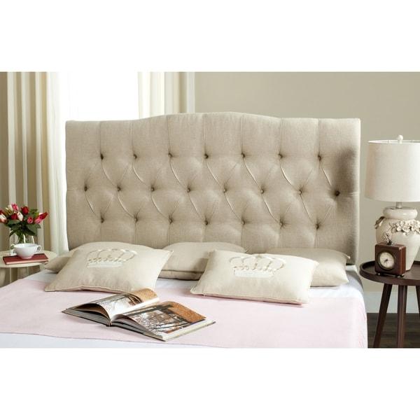 Shop Safavieh Axel Hemp Linen Upholstered Tufted Headboard Queen