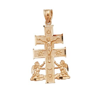 Caravaca 14k Yellow Gold Cross Pendant