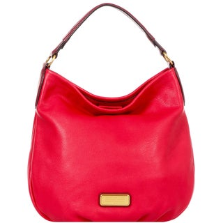 Marc by Marc Jacobs New Q Hillier Hobo Rosey Red Leather Handbag