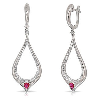 Kabella Sterling Silver Red and White Cubic Zirconia Teardrop Dangling Earrings