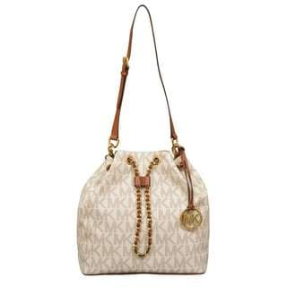 Michael Kors Large Frankie Vanilla Logo Drawstring Convertible Shoulder Handbag