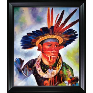 Celito Medeiros 'Native Heritage' Hand Painted Framed Canvas Art