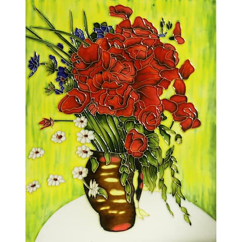 Vincent Van Gogh 'Vase with Daisies and Poppies' Trivet/Wall Ceramic Tile (felt back)