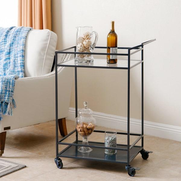 Abbyson Charcoal Blue Iron/Glass Kitchen Bar Cart