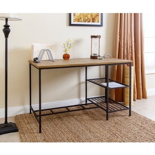 Abbyson Kirkwood Black Iron/Wood Industrial Office Desk