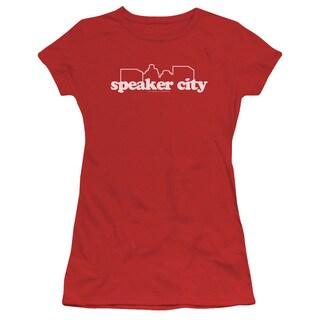 Old School/Speaker City Logo Junior Sheer in Red