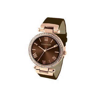 Rampage Women's RP1042RGBN Rose Goldplated Watch with Brown Strap