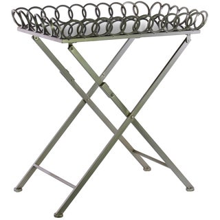 Urban Trends Collection Circle Lattice Metal Folding Table with Mirror Top and Crossed Legs