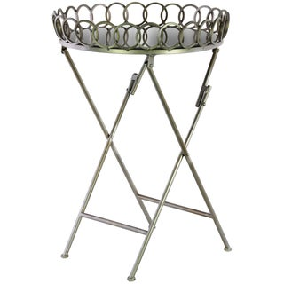 Champagne Metal Mirror-top Crossed-leg Lattice Design Round Folding Table