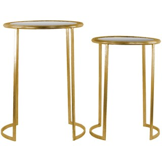 Urban Trends Collection Distressed Metallic Gold Metal Round Tables With Beveled Mirror and Pierced Top (Set of 2)