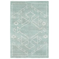 Handmade Collins Mint & Ivory Nomad Rug - 2' x 3'