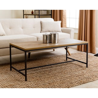 ABBYSON LIVING Black/Tan Wood/Iron Kirkwood Industrial Coffee Table