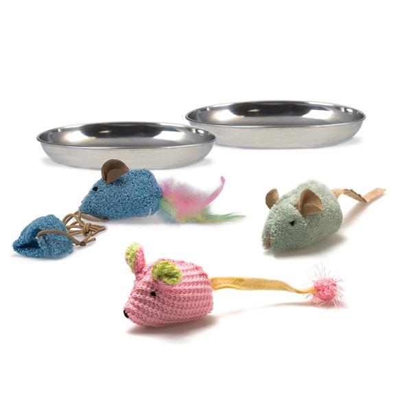 Pet Zone 3-toy 2-dish Kitty Kit