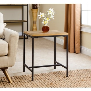 ABBYSON LIVING Kirkwood Distressed Black Wood/Iron Industrial End Table