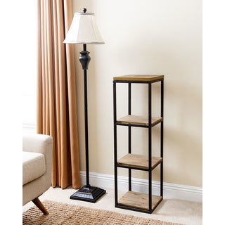 ABBYSON LIVING Kirkwood Distressed/Black Wood/Iron Industrial 3-tier Small Bookcase
