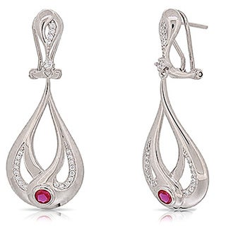 Kabella Sterling Silver Red and White Cubic Zirconia Teardro[ Dangling Earrings