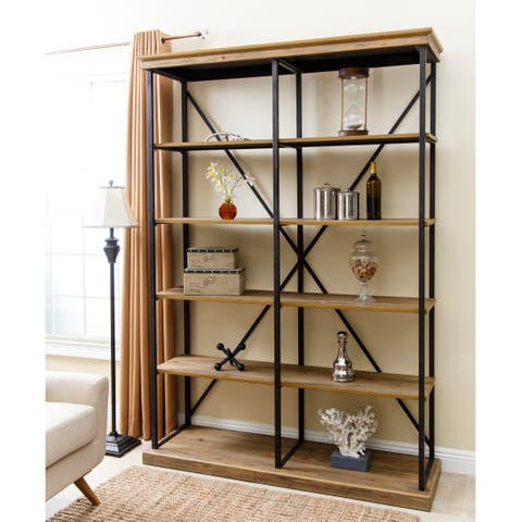 Abbyson Wood and Iron Industrial Rustic Five-tier Double Bookcase