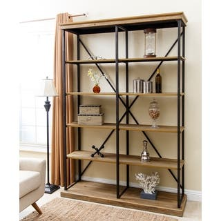 Abbyson Wood and Iron Industrial Rustic Five-tier Double Bookcase|https://ak1.ostkcdn.com/images/products/11928424/P18817911.jpg?impolicy=medium