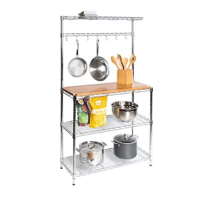 Seville Classics Steel Baker's Rack with Solid Wood Top