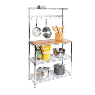 36 in W x 14 in D x 63 in H, Steel Baker's Rack with Solid Wood Top