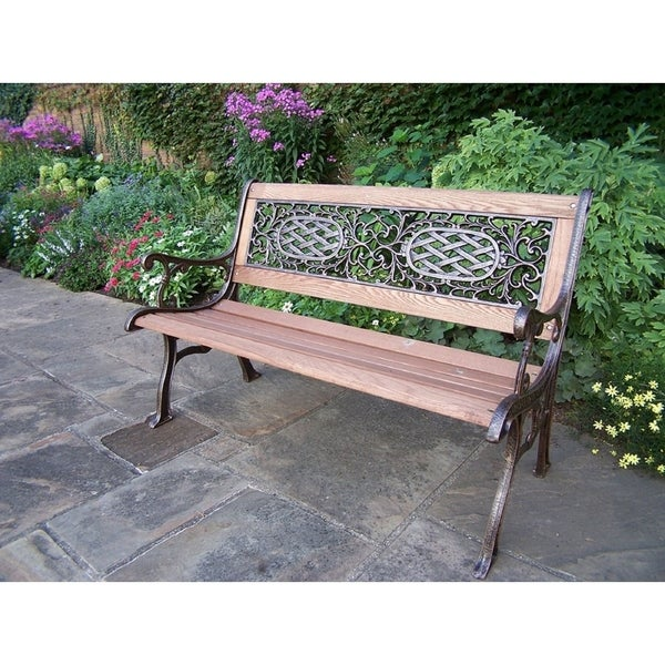 Shop Oakland Living Cast Aluminum Iron With Wood Garden Bench On
