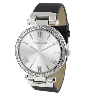 Rampage Women's RP1042SLBK Silverplated Plated Black Strap Watch