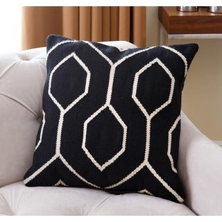 ABBYSON LIVING Joshua Black/White Lattice New Zealand Wood Polyester-filled 20-inch Throw Pillow