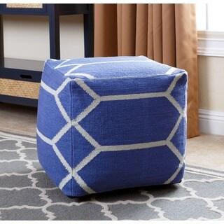 ABBYSON LIVING Blue New Zealand Wool Handmade Parker Lattice 18-inch Square Pouf