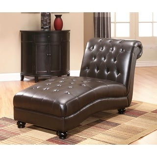 ABBYSON LIVING Palisades Dark Brown Leather Chaise
