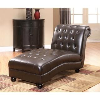 Abbyson Palisades Dark Brown Leather Chaise